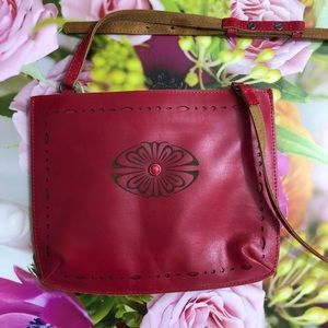Most Wanted USA Red Leather Boho Crossbody Bag